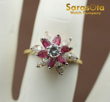 14K Yellow Gold Cubic Zirconia/Ruby Flower Cluster Women's Ring Size 6.75 - Sarasota Watch Company
