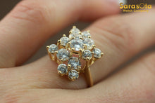 14K Yellow Gold Cubic Zirconia Cluster Women's Ring Size 4.75 - Sarasota Watch Company
