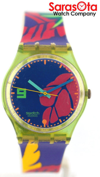 Swatch Multi Color Flower Pattern Resin Strap Swiss Quartz Women's Watch