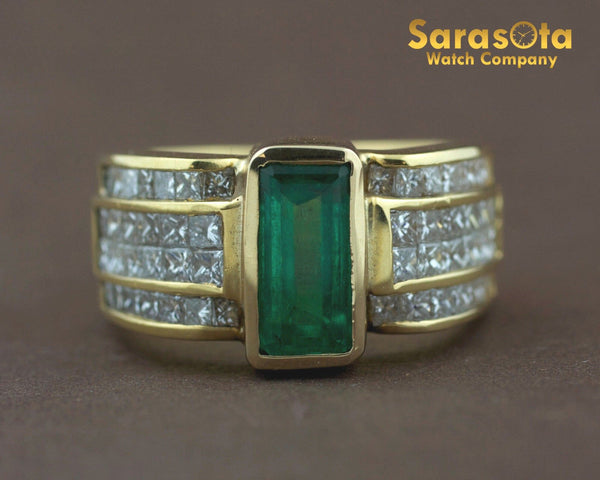 18K Yellow Gold Diamond/Emerald 0.75Ct H/VS2 Cocktail Women's Ring Size 6.25 - Sarasota Watch Company
