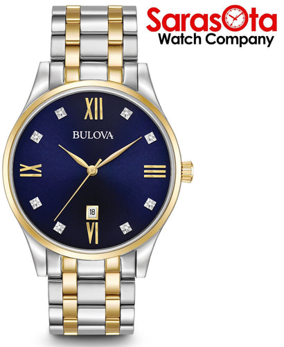 Bulova 98D130 Blue Diamond & Roman Dial Two Tone Steel Quartz Men's Watch