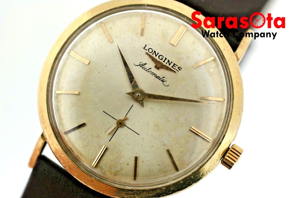 Vintage Longines Admiral 10k G.F. 1200 33mm Leather Swiss Automatic Wrist Watch - Sarasota Watch Company