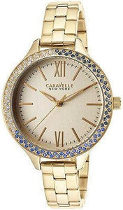 Caravelle New York 44L154 Crystal Bezel Gold Tone Stainless Quartz Women's Watch
