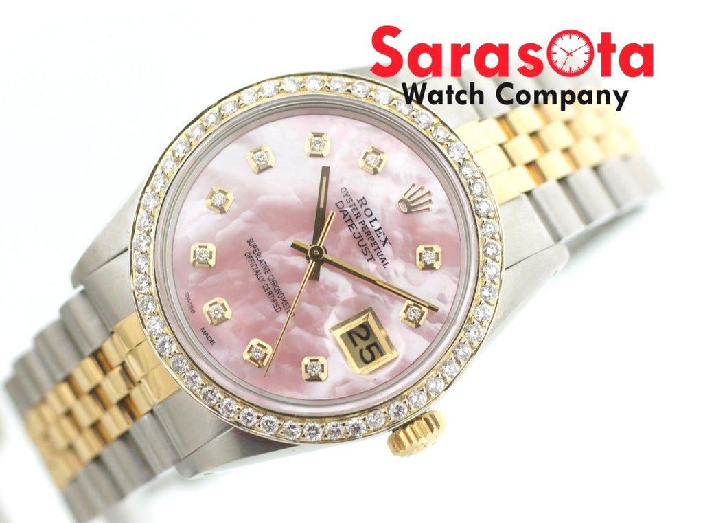 Rolex Datejust 16013 Pink MOP Diamond Dial/Diamond Bezel 18K/Steel Wrist Watch - Sarasota Watch Company