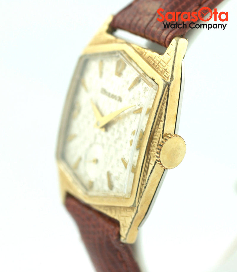 Vintage Bulova 10KYG Plated Bezel Brown Leather Manual Wind Unisex Watch