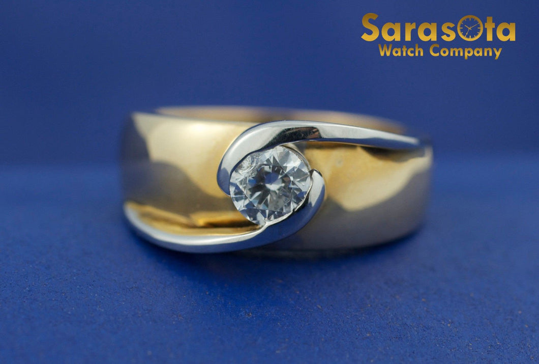 14K Yellow & White Gold Cubic Zirconia Bypass Bezel Solitaire Womens Ring Size 6 - Sarasota Watch Company