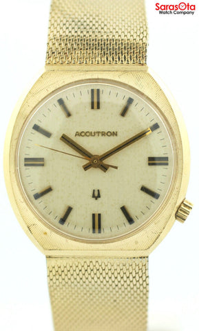 Vintage Accutron 10K Gold Filled Off White Dial Electric/Quartz Men's Watch
