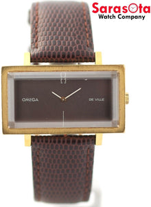 Vintage Omega De Ville Gray Dial Brown Lizard Rectangle Hand Winding Men's Watch