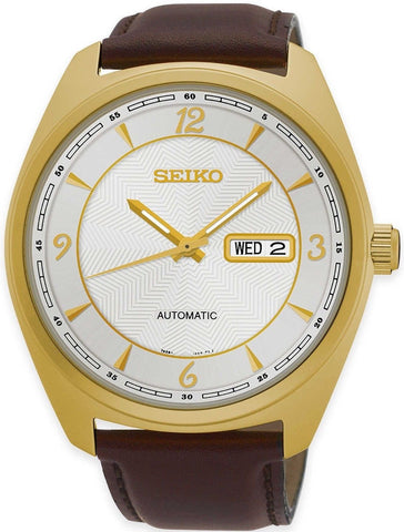 Seiko SNKN70 Gold Tone Steel Brown Leather Automatic Day/Date Dress Men's Watch