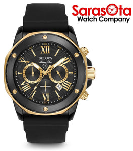 Bulova Marine Star 98B278 Chronograph Black/Gold Tone Steel Rubber Men's Watch