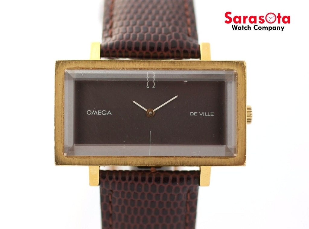 Vintage Omega De Ville Gray Dial Brown Lizard Rectangle Hand Winding Men's Watch - Sarasota Watch Company