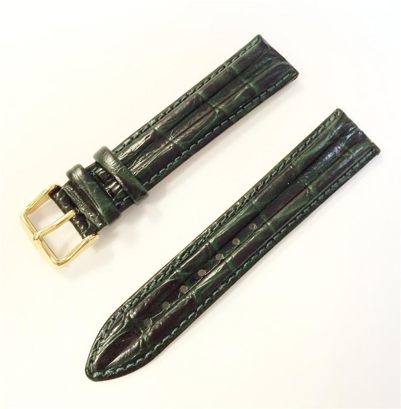 HIRSCH Professional Genuine Leather 18/20 mm Regular Stitched Green Watch Band