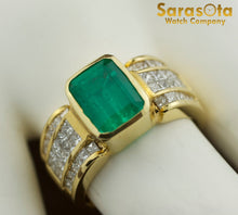 18K Yellow Gold Diamond/Emerald 0.5Ct G/VS1 Cocktail Women's Ring Size 7.75 - Sarasota Watch Company