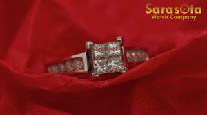 14K White Gold Approx 0.30 Ct Princess/Round Diamond Women's Ring Size 5 - Sarasota Watch Company