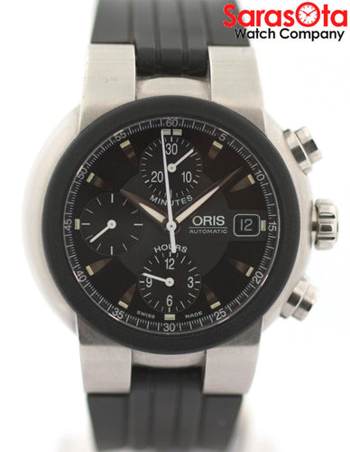 Oris TT1 7521-44 Stainless Steel Chronograph Black Rubber Automatic Men's Watch