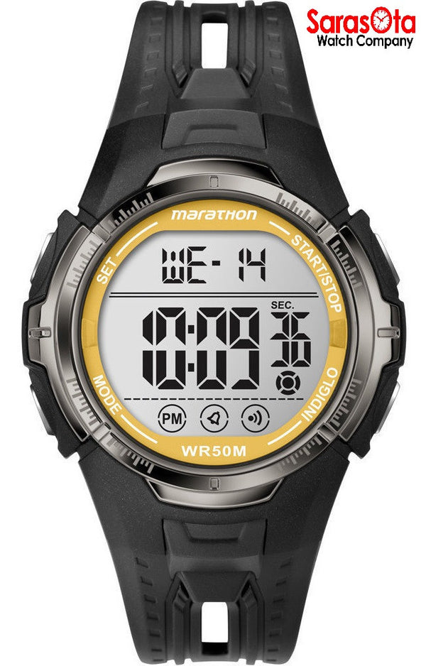 Timex T5K803 Marathon Day/Date Black/Yellow Resin Digital Sport Men's Watch