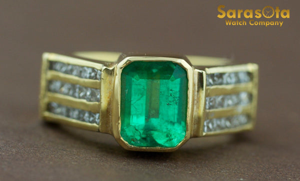 18K Yellow Gold Diamond/Emerald 0.50Ct H/SI2 Cocktail Women's Ring Size 6.25 - Sarasota Watch Company