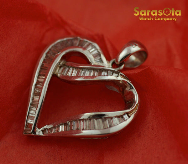 14K White Gold Approx 1.25Ct Baguette Diamond Heart Shape Pendant - Sarasota Watch Company