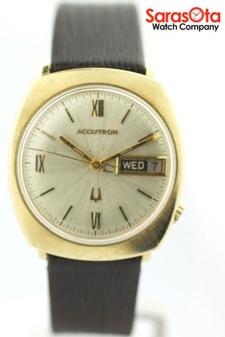 Vintage Bulova Accutron 14K Yellow Gold Case Day/Date Tuning Fork Men's Watch
