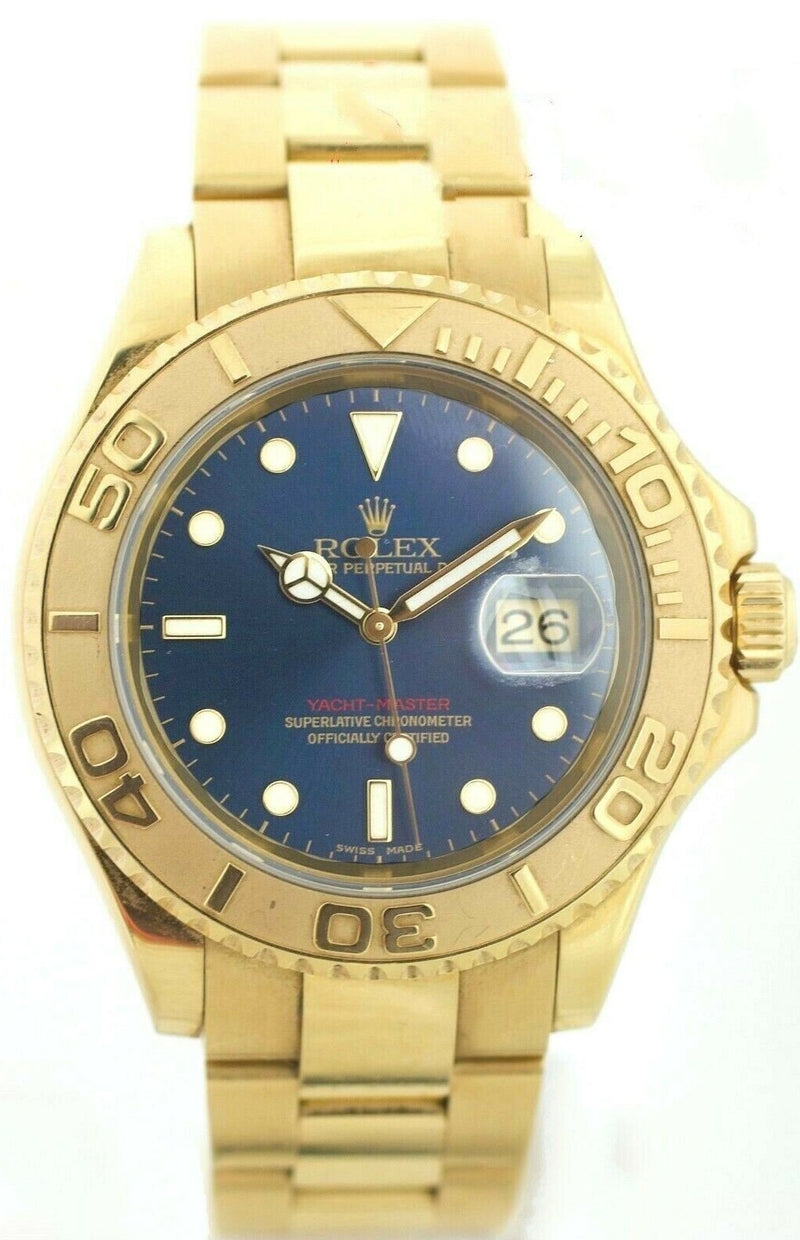 Rolex Yacht-Master 16628 Deep Blue Dial 18K Yellow Gold W/B/P 2005 Men's Watch