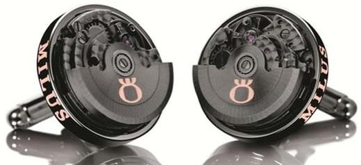 Milus CUF054 Steel Black PVD Clockwork 360 Degrees Rotatable Cufflinks - Sarasota Watch Company
