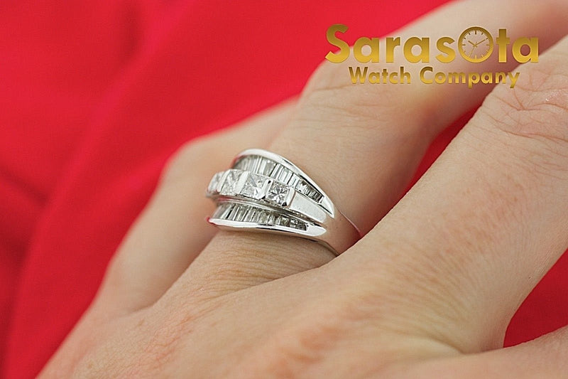 14K White Gold 2ct Baguette Princess Diamond Women's Ring Size 5.25