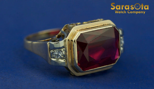 14K Yellow & White Gold Synthetic Ruby/Diamond Accented Women's Ring Size 7.25 - Sarasota Watch Company