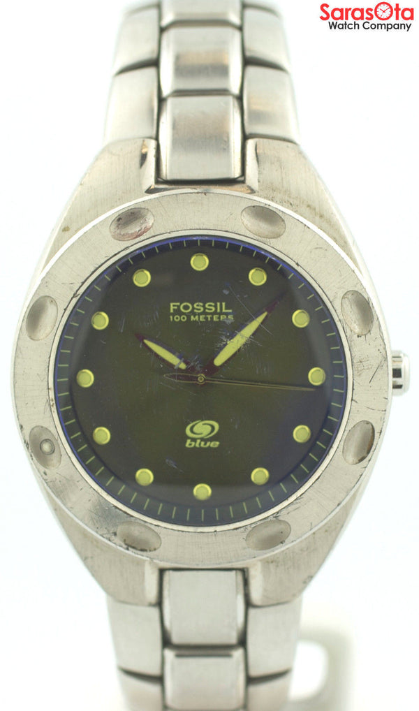 Fossil AM-3345 Blue Dial Stainless Steel Quartz 100M Sport Men's Watch
