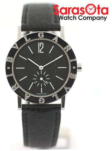 Bvlgari Diagano BB 33 SL Stainless Steel Black Leather Quartz Women's Watch
