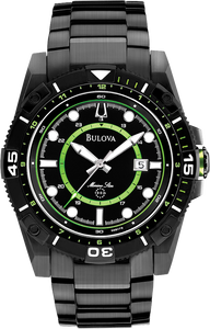 Bulova Marine Star 98B178 45mm Black Stainless Steel Quartz Sport Men's Watch