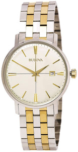 Bulova 98B255 Two Tone Stainless Steel Beige Dial Quartz Dress Men's Watch