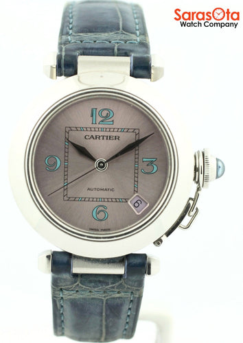 Cartier Pasha 2324 Steel Purple Dial Blue Leather Swiss Automatic Women's Watch