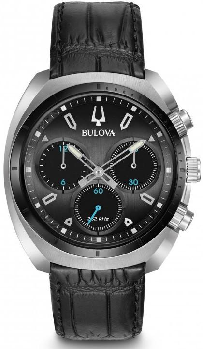 Bulova 98A155 Black Leather Stainless Steel Curved Chronograph Men's Watch
