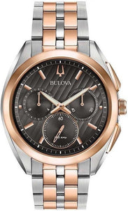 Bulova CURV 98A160 Gray Dial Chrono Two Tone Rose Gold/Steel Quartz Men's Watch
