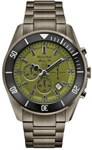 Bulova Marine Star 98B206 Chronograph Green Dial Gunmetal Stainless Men's Watch