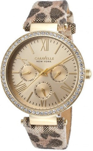 Caravelle New York 44N103 Crystal Bezel Gold Tone Stainless Quartz Women's Watch