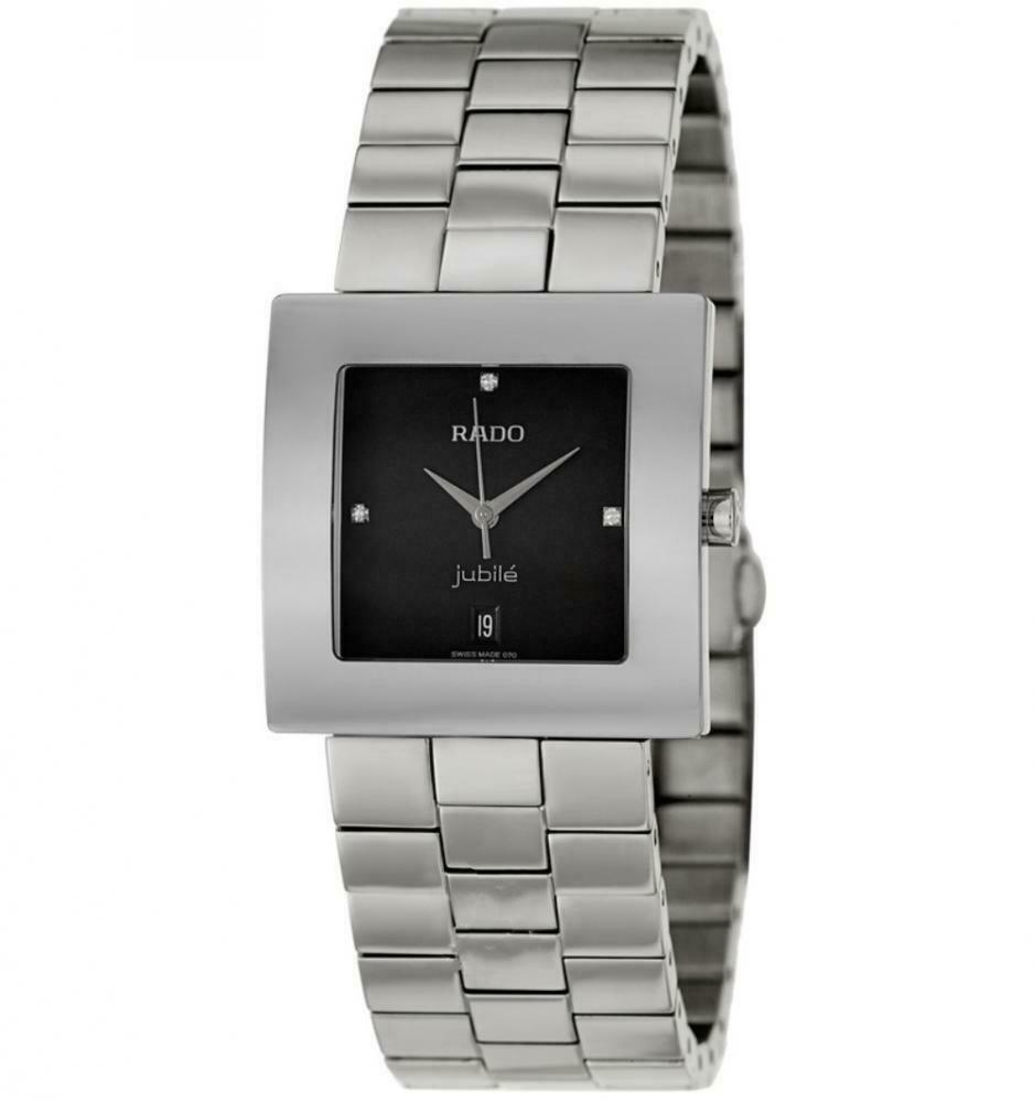Rado Diastar Jubile R18681703 Stainless Steel Black Dial Square Men's Watch - Sarasota Watch Company