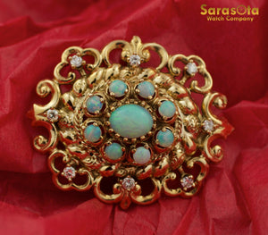 14K Yellow Gold Victorian Fleur De Lis Design Diamond/Opal Gem Brooche - Sarasota Watch Company