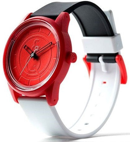 Q&Q RP00J007Y Red Dial Solar Powered Polyurethane Strap Red Unisex Watch