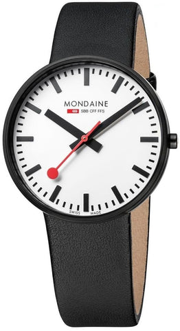 Mondaine Giant A660.30328.61SBB White Dial Black Leather Quartz Men's Watch