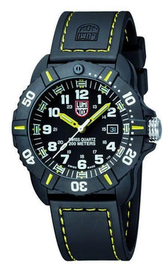 Luminox Coronado A.3025 Black/Yellow Carbon Case Rubber Swiss Quartz Men's Watch