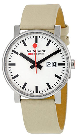 Mondaine A627.30303.11SBK White Dial Taupe Leather Big Date Quartz Men's Watch