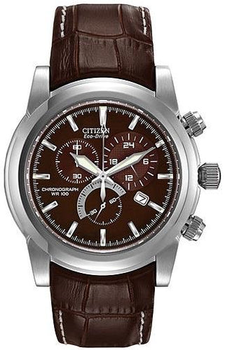 Citizen Eco Drive AT0550-11X Brown Dial Chronograph Brown Leather Men's Watch