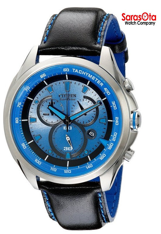 Citizen Eco Drive AT2180-00L Chronograph Blue Dial Black Leather Men's Watch