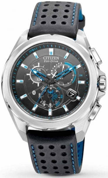 Citizen Eco Drive AT7030-05E Chronograph Black Dial Black Leather Men's Watch