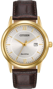 Citizen Eco Drive AW1232-04A Gold Tone Steel Brown Leather Dress Men's Watch