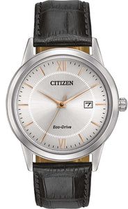 Citizen Eco Drive AW1236-03A Silver Dial Stainless Steel Leather Men's Watch