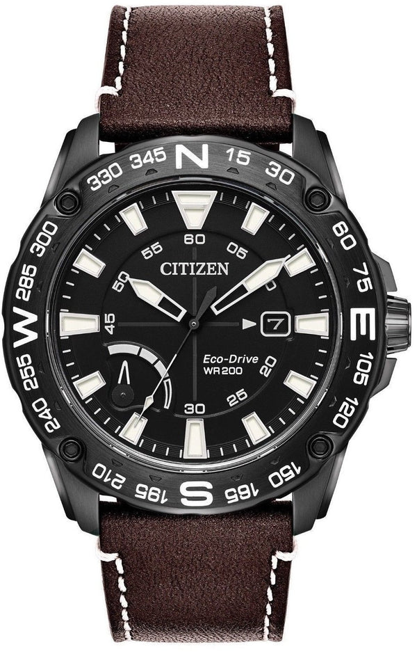 Citizen Eco Drive AW7045-09E Black Ion Plated Steel Leather Compass Men's Watch
