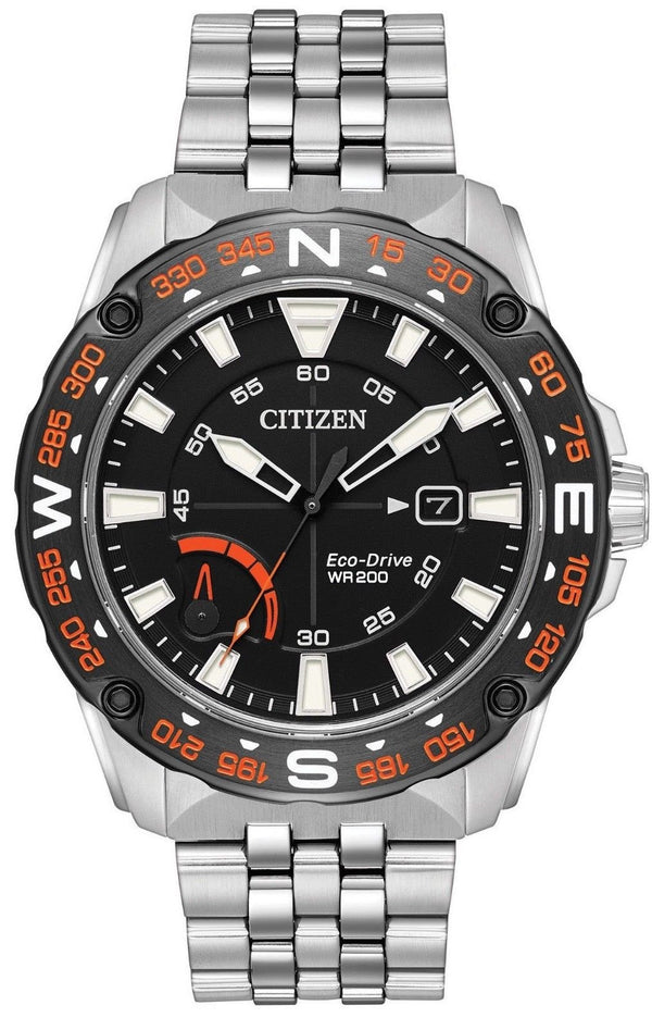Citizen Eco Drive AW7048-51E Black Dial Stainless Steel Compass Men's Watch