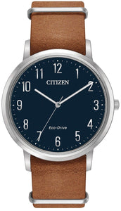Citizen Eco Drive BJ6500-12L Blue Arabic Dial Stainless Steel Leather Mens Watch